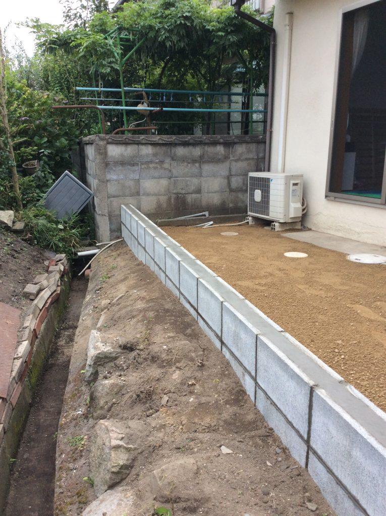 【土流れ防止 ブロック設置工事】